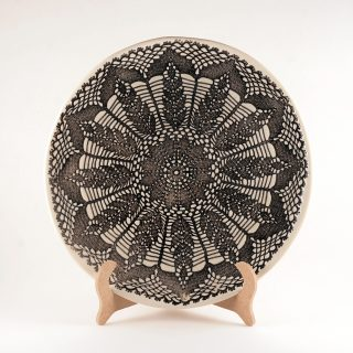 Lace Plate - 25 cm - Black and White