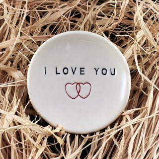 'I Love You' Handmade ring holder and jewelry dish - black